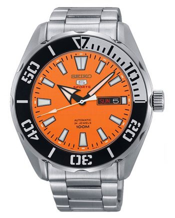 SEIKO 5 Sports SRPC55K1 Orologio Automatico Orange Dial 100m